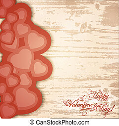 Valentine day wooden background with greetings and hearts