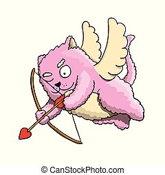 Valentines Day, Valentines Cupid Cat Aiming at Lover's Heart with Cupid Arrow on White Background