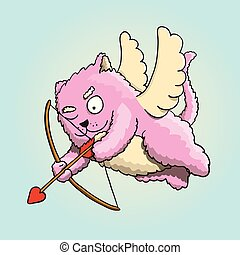 Valentines Day, Valentines Cupid Cat Aiming at Lover's Heart with Cupid Arrow
