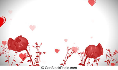 valentine's day floural background, floating hearts, growing flowers, text can be applied upon.