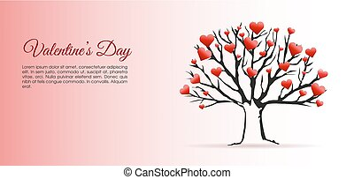 Valentines day vector illustration background with tree and hearts.