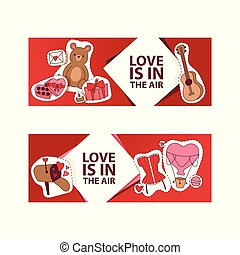 Valentines day vector illustration. Love is in the air banner, poster, flyer, brochure with hearts, bear toys, gifts, sweets, guitar, romantic letter stickers. For lovely couple.