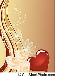 vector illustration of a red heart on a floral background
