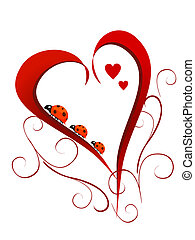 vector illustration of lady beetles on a red heart