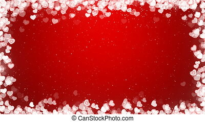 Valentines Day Video Frame with Flying Hearts on Red Background.