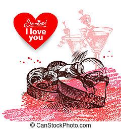 Valentine's Day vintage background. Hand drawn illustration with heart form banner.