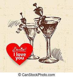 Valentine's Day vintage background. Hand drawn illustration with heart form banner.  Cocktails