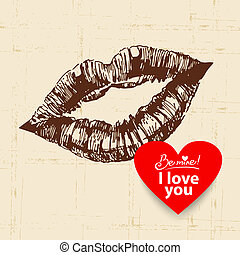 Valentine's Day vintage background. Hand drawn illustration with heart form banner.  Lips