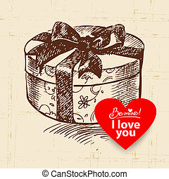Valentine's Day vintage background. Hand drawn illustration with heart form banner.  Gift box
