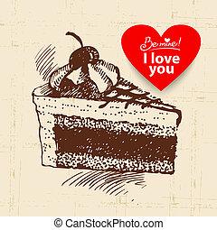 Valentine's Day vintage background. Hand drawn illustration with heart form banner.  Cake