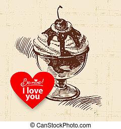Valentine's Day vintage background. Hand drawn illustration with heart form banner.  Ice cream