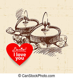Valentine's Day vintage background. Hand drawn illustration with heart form banner.  Candles with rose petals