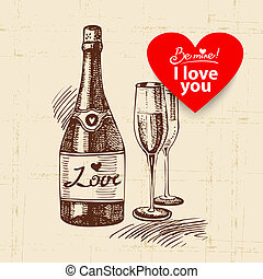 Valentine's Day vintage background. Hand drawn illustration with heart form banner.  Champagne and wineglass