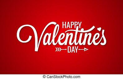 Valentines day vintage lettering on red background