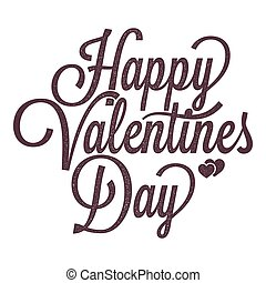valentines day vintage lettering on white background