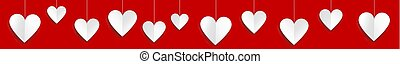 Valentines day web banner with paper hearts