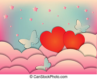 Valentine's day, wedding. Invitation, banner or poster design template.