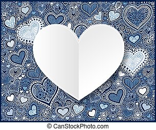 Valentines day white paper on hand drawing blue heart shape back