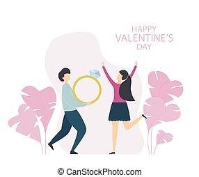 Valentines Day with Happy Woman and Man with Ring