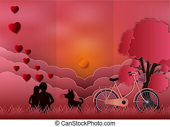 Valentines day with man and woman in love and watching the sunset on background. paper art style. vector illustration