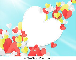 Valentines day with Paper elements in the shape of a heart flying in the sky. Paper art concept. Vector illustration