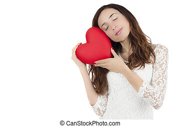 Valentines day woman holding a heart