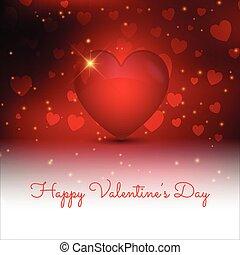 valentines, decorativo, coração, 3d, estilo, dia, fundo