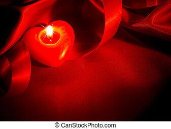 valentines, desenho, corações, vela, seda, borda, vermelho