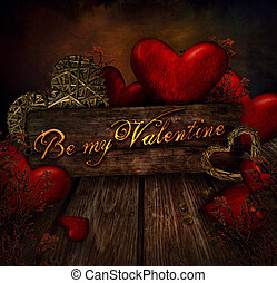 Valentines design - Hearts on wood. Valentine's day love card with red hearts.