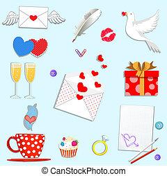 valentines, dessin animé, isolé, ensemble, blanc, jour, heureux, icônes, arrière-plan.