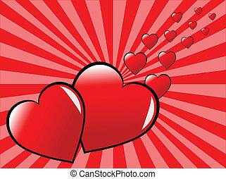 valentines, deux,  Illustration, vecteur, cœurs, jour, rouges