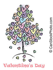 valentines, dia árvore, fundo