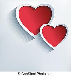 valentines, dois, fundo, corações, dia, 3d