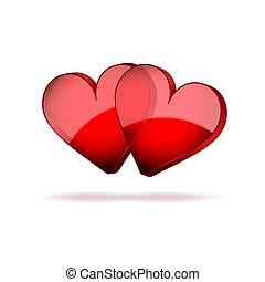 valentines, dois, fundo, corações, dia, feliz