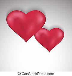 valentines, dois, fundo, elegante, corações, Dia