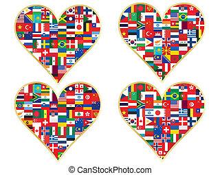 valentines, drapeaux, fait, icônes