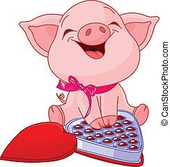 valentines dzień, ładny, świnia