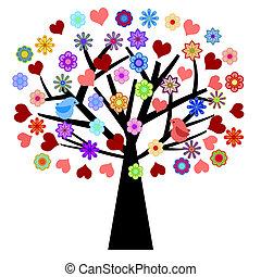 valentines dzień, drzewo, z, miłość ptaszki, serca, kwiaty