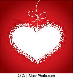 valentines dzień, karta, czerwony