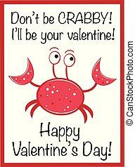 valentines dzień, krab, szczęśliwy