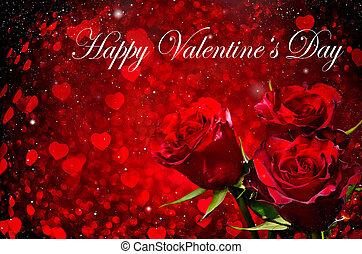 valentines dzień, tło, z, róże