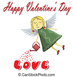 Valentines Fairy angel Blond watering love isolated on white background