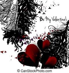 valentines, flourishes, rosso, giorno, scheda, hearts.eps