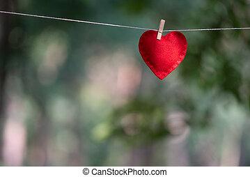 valentines, fondo, con, cuore rosso