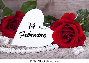 valentines, fondo, con, rose