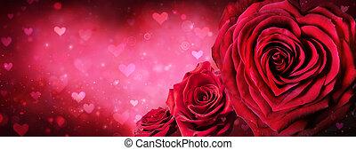 valentines, forme coeur, jour, roses, bannière, rouges