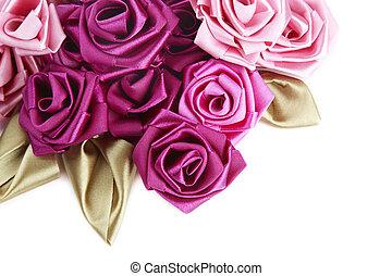 Valentine\\\'s frame - Vinous and pink handmade silk roses...