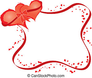 Valentines frame with hearts, vector