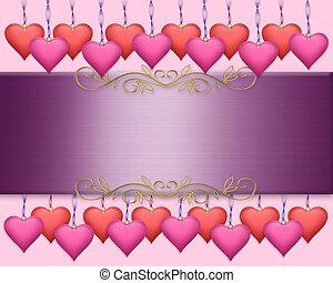 valentines, frontière, jour, fond