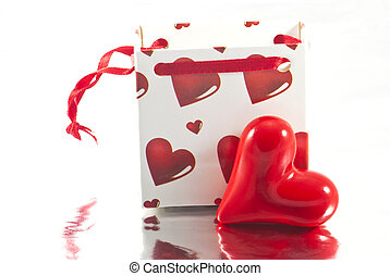 Valentines gift bag with heart